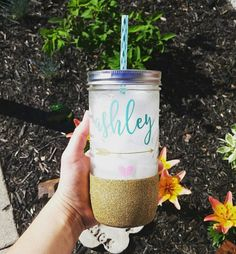 Personalized Custom Name Mason Jar Tumbler // Personalized Tumbler // Glitter…