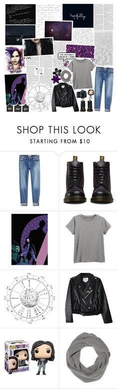 """""""{ Jessica Jones ] maybe it's enough that the world thinks i'm a hero ~"""" by wintervale ❤ liked on Polyvore featuring WALL, Frame, Dr. Martens, Kate Spade, Funko, SHAN, The Elder Statesman and Eos"""