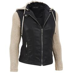 Plus Size Black Rivet FauxLeather Jacket w/ Removable Knit Sleeves and... (€79)…