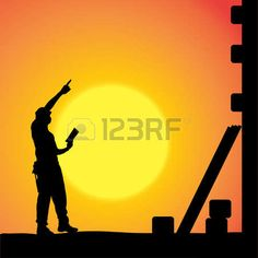 silhouette of a man working with tools at sunset  Stock Vector