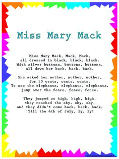 Things from the past: Books - Rhymes and Songs - Silly Songs - Miss Mary Mack Kindergarten Songs, Preschool Music, Preschool Activities, Preschool Worksheets, Intj, Songs For Toddlers, Children Songs, Silly Songs For Kids, Popular Kids Songs