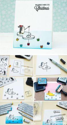 Penguin Christmas Card | Click for 20 DIY Christmas Card Ideas for Families | DIY Christmas Cards for Kids to Make