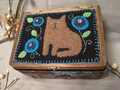 Primitive Wool Applique Kittie Cat & Penny Rug Flowers Trinket Box. $18.00, via Etsy.