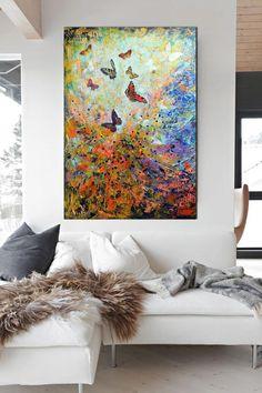 large modern painting  butterflies abstract by artstudioAreti