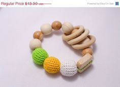 ON SALE NOW Crochet  Wooden Baby Toy  Wooden by EcoBabyMarket
