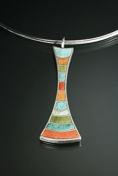 """""""Multi-Color Peduncle pendant"""" - Silver & Polymer Necklace - by Lou Ann Townsend and Mary Filapek"""