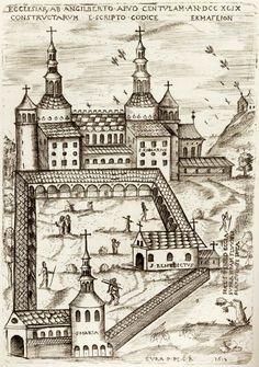 Abbaye bénédictine de Saint-Riquier (ancienne Centula), Baie-de-Somme, (détruite à la fin du XVIIe siècle), vers 799 ; Gravure  de l'abbaye carolingienne d'après un dessin de Paul Petau, 1613, BnF.