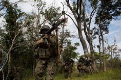 U.S Marines with Company E, Battalion Landing Team 2nd Battalion, 4th Marines, (BLT) 31st Marine Expeditionary Unit, provides security while conducting a vertical assault at Combat Town, Okinawa, Japan, Dec 8, 2014. Company E. is conducting training as part of the MEU Exercise and pre-deployment training. (U.S. Marine Corps Photo by Lance Cpl. Richard Currier/ Released)