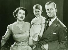 Princess Elizabeth, Prince Philip and Prince Charles at Clarence House, Summer 1951