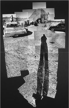 David Hockney Prehistoric Museum Near Palm Springs, 1982 photographic collage 84 x 56 in. i choose this photo because I liked the over exaggerated shadow and the black and white David Hockney Photography, Photography Collage, White Photography, Photomontage, David Hockney Joiners, Art Du Collage, Collage Photo, Photo Collages, Tableaux Vivants