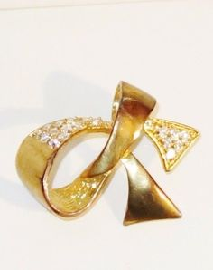 Vintage Gold Tone Swarovski Crystals Abstract Bow or Ribbon Brooch #Unbranded