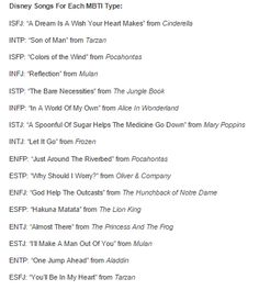 ENFP - Legit, that was my favorite Disney song all growing up. It's still one of my all time favorites.