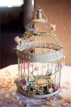 My birdcage white roses with a bow