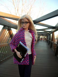 Barbie going to work? Cute look. :)