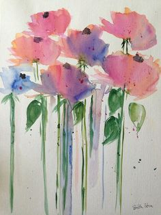 ORIGINAL AQUARELL Aquarellmalerei Bild Kunst Blumen abstrack