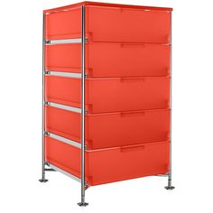 Kartell Mobil 5 Drawer - Orange (143170 RSD) ❤ liked on Polyvore featuring home, furniture, storage & shelves, orange, drawer storage unit, drawer furniture, kartell, key furniture and colored furniture