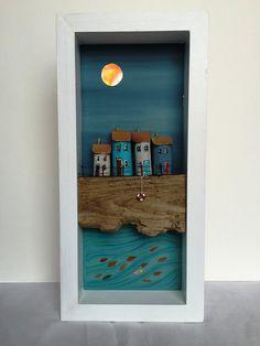 herbstdeko basteln naturmaterialien by bridget wilkinson Shadow Box Kunst, Shadow Box Art, Beach Crafts, Diy And Crafts, Arts And Crafts, Driftwood Projects, Driftwood Art, Assemblage Art, Wooden Art