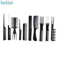 Beauty Girl 10Pcs Black Pro Salon Hair Styling Hairdressing Plastic Barbers Brush Combs Set Aug 23 #Affiliate