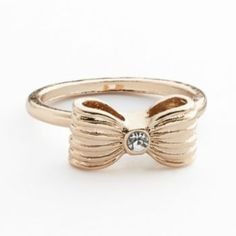 LC Lauren Conrad Gold Tone Simulated Crystal Ribbed Bow Ring