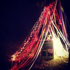 My 25th birthday tent. Bohemian rainbow birthday party. Glitterfest2013  Streamer tent www.leahnfoster.tumblr.com