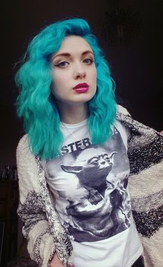Bright turquoise hair