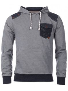 Smith & Jones Mens Light Grey Contrast Patch & Pocket Microstripe Hoody