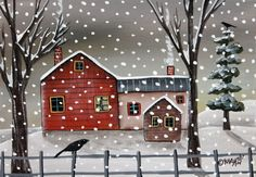 Winter Homestead 5x7 inch Canvas Panel ORIG PAINTING PRIM FOLK ART Karla G..new painting for sale..