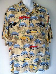 356104a2ceb87 Reyn Spooner Hawaiian Shirt Tiki Thunderbird Cars Design Coconut Buttons   thunderbird  ReynSpooner  Hawaiian
