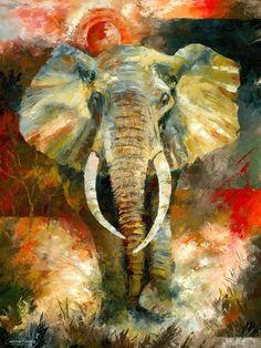 ARTIST:  Christiaan Bekker  Charging African Elephant Painting