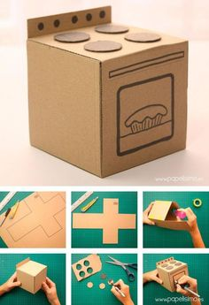 To wash - Diy Cardboard Toys Cardboard Kitchen, Cardboard Dollhouse, Cardboard Toys, Cardboard Furniture, Doll House Cardboard, Cardboard Crafts Kids, Cardboard Playhouse, Kids Crafts, Doll Crafts