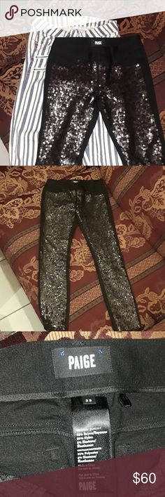 Two Paige Jeans Size 23 Two Paige jeans for sale as pictured. Jeans are in used condition, no rips or stains. Both jeans are size 23, the measurements of the length are in the pictures. Jeans are in used condition but are in great shape, they do have a perfume smell the jeans. This is for two Paige jeans as pictured, please know your size prior to purchasing as all sales are final smoke-free home Happy poshing. Paige Jeans