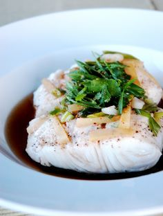 Vietnamese inspired steamed halibut