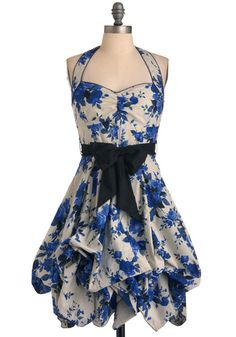 Indigo Gardens Dress, #ModCloth #partydress  So beautiful. I love this fabric, the bow, the neckline, the gathered bottom... perfect!