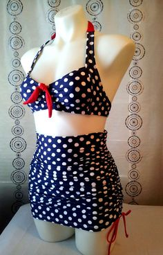 Retro Top &  Adjustable length skirt with Attached Tummy Control bottoms in Large Navy Dot on Etsy, $169.74 AUD
