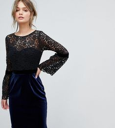 Paper Dolls 2 in 1 Midi Lace Dress with Fluted Sleeve And Velvet Skirt