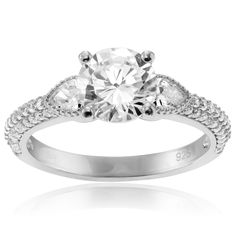 Journee Collection Sterling Silver Round Cut CZ Engagement Ring (Size- 9), Women's