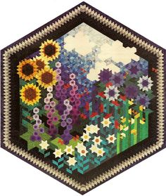 Art Quilt - The Other Side of My Grandmother's Flower Garden