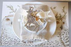 white on white Christmas table setting owls + deer