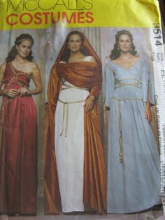 McCall's Costumes Pattern Greek Roman uncut misses miss petite  3514 10 pieces by BeechersCorner on Etsy