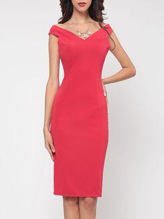 #Fashionmia - #Fashionmia Plain Absorbing V Neck Bodycon Dress - AdoreWe.com