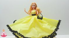 How to Make a Cinderella Yellow Doll Dress from Tissue and Crepe Paper -...