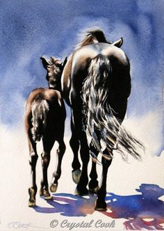 Crystal Cook Artwork - Mom and baby art. An original watercolor painting of a mare and her foal close together on a bright, sunny day.