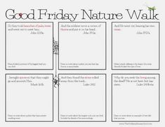 Good Friday Nature Walk from the Unlikely Homeschool- love this idea!