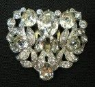 Eisenberg Script E Rhinestone Dress Clip with Icing Vintage Signed Crystal Jewelry Accessory