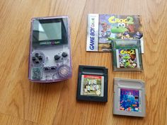 Original Nintendo Game Boy Color Atomic Purple Handheld System, Clear Grape Gameboy, w/ three games Nintendo Games, Nintendo Consoles, Retro Game Systems, Super Breakout, Liquid Crystal Display, Two Player Games, Original Nintendo, Battery Lights, Threes Game
