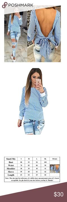 Blue and white stripped backless shirt Adorable fancy shirt in the front and cute backless shirt in the back with an adorable bow. NWOT. Size XL. Fits a size 4. Tops Blouses