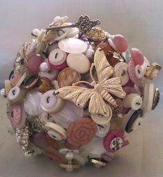vintage style brides  button bouquet  wedding by Whirlado on Etsy, $140.00