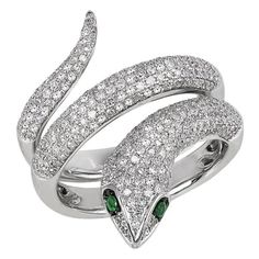 Effy Jewelry Jardin Critters Diamond & Emerald Snake Ring, 1.04 TCW ($4,680) ❤ liked on Polyvore featuring jewelry, rings, accessories, emerald jewellery, emerald ring, effy jewelry, diamond jewelry and emerald diamond ring