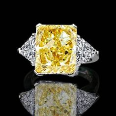 Romantic 3.5ct.radiant Intense Canary Cubic Zirconia Cz Classic Wide Shank Ring Special Summer Sale Other Wedding Jewelry