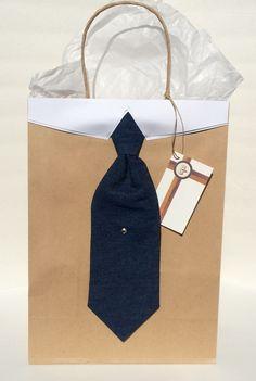 Denim Necktie with Collar Gift Bag